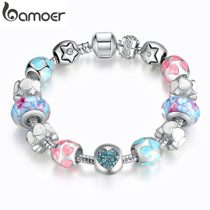 "BAMOER Aliexpress Silver Heart Start Crystals ""LOVE"" Colorful Girl Murano Beads Bracelet for New Year Gift PA1871(China)"