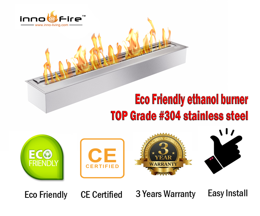 Inno Living Fire 24 Inch Biofuel Burner Insert Ethanol Chimney