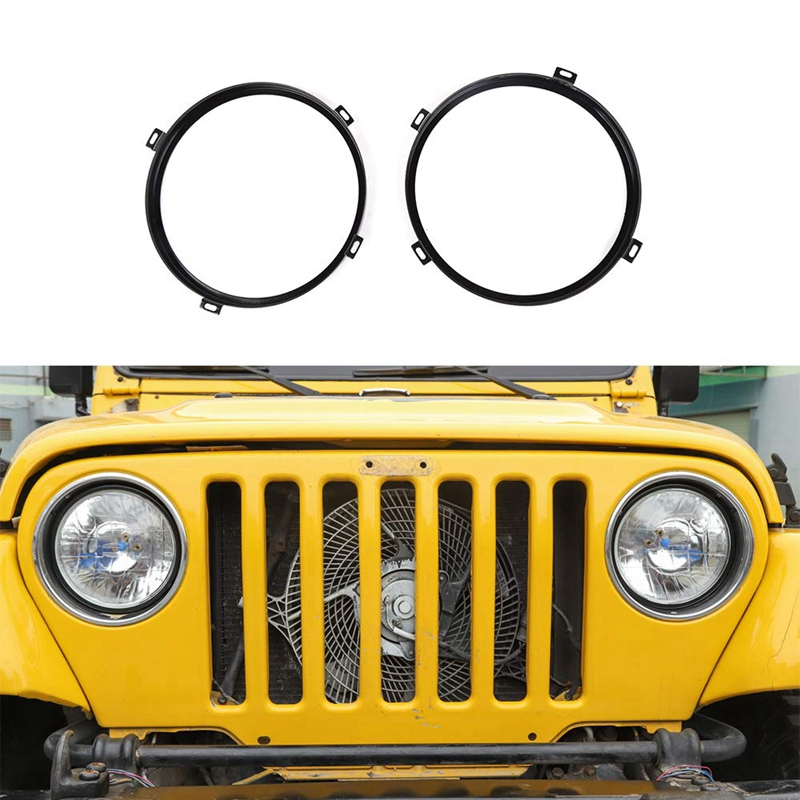 Round Headlight Retaining Ring Headlamp Bezel Mounting Bracket For Jeep Wrangler TJ 1997-2006 Black