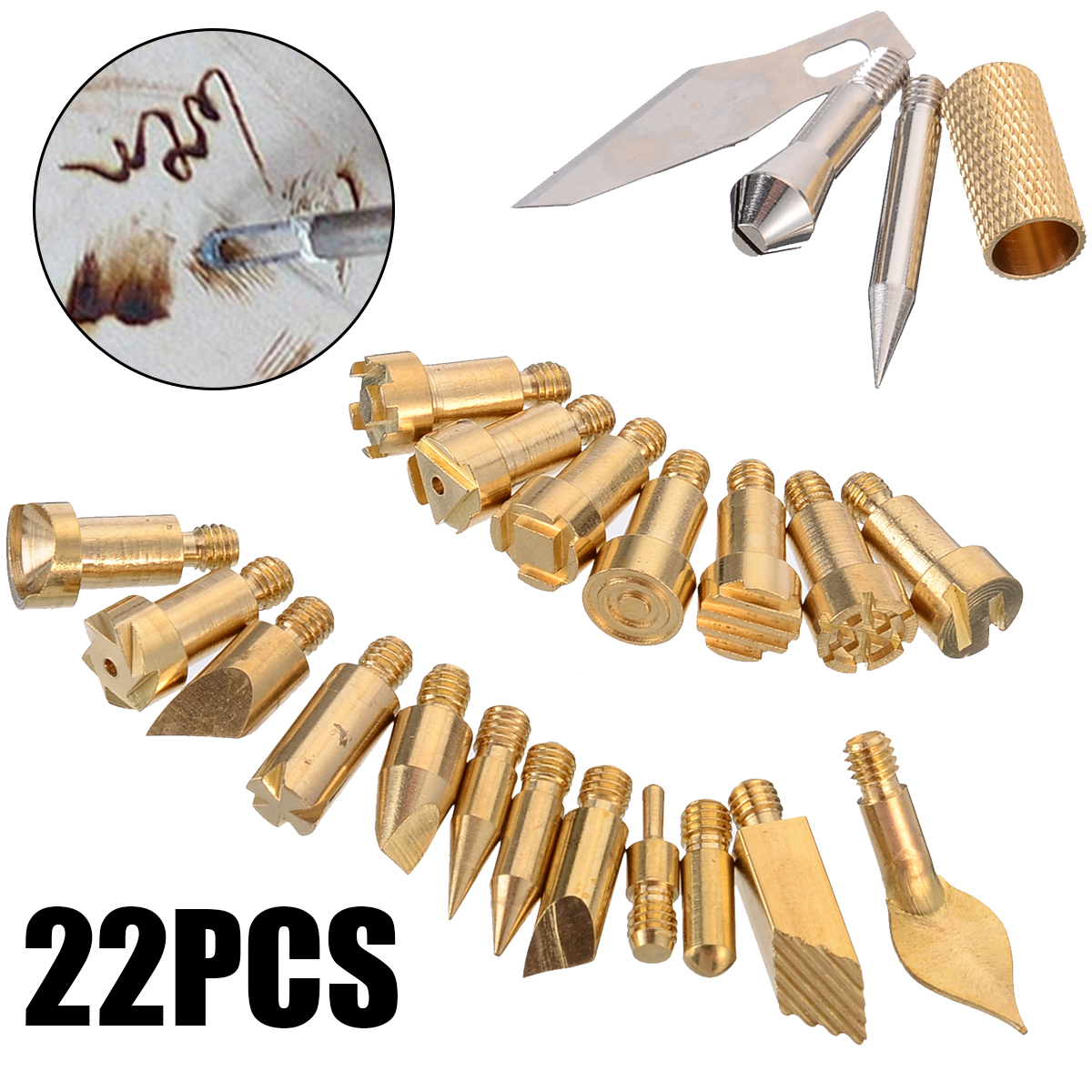 22Pcs Wood Burning Pen Tip Craft Set Iron Carving Pyrography Tool Art Soldering Pen Brass Welding Tips For Wood Embossing