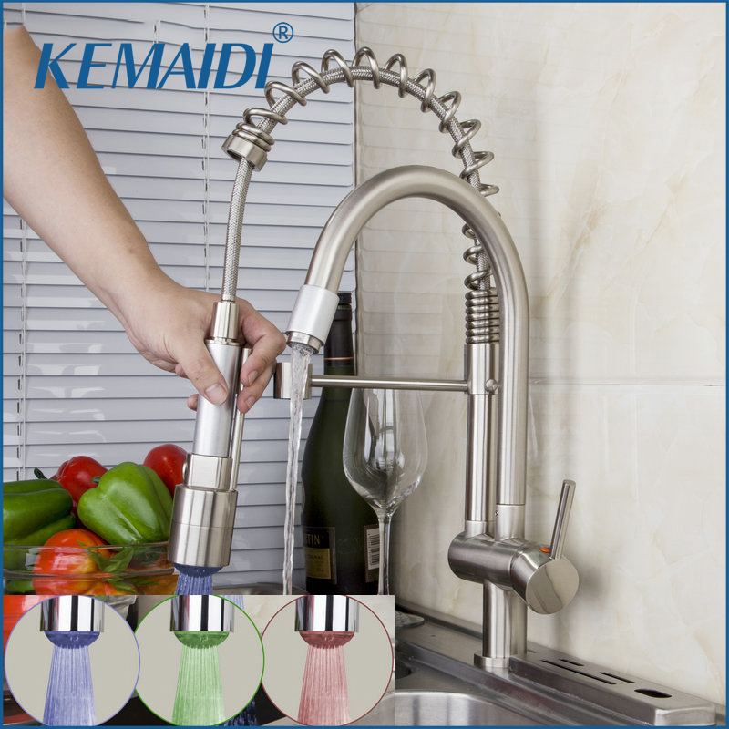 KEMAIDI  Brushed Nickel Faucets Solid Brass Pull Out Spray  LED With 3 Color Deck Mounted Kitchen Faucet 360 Swivel Tap