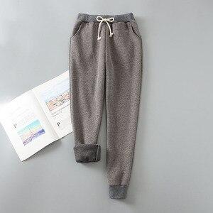 Image 5 - Pantalones harén de Cachemira para mujer, pantalón cálido, informal, cálido, de piel de cordero, pantalón suelto de mujer 2019