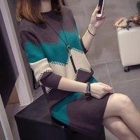 New Autumn Winter Women Sweater Dress Fashion Stripe Patchwork Knitted Dress Plus Size Casual Ladies Pull femme Vestidos f1669