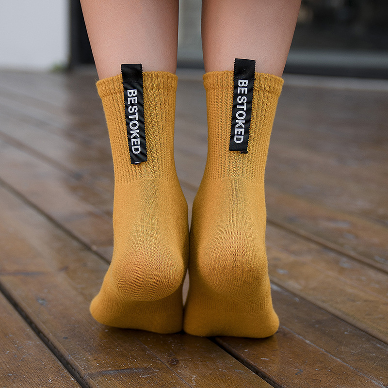 Cotton Letter Solid Color Women Socks 2019Autumn New Fashion Comfortable Deodorant Breathable Label Crew Casual Socks Women