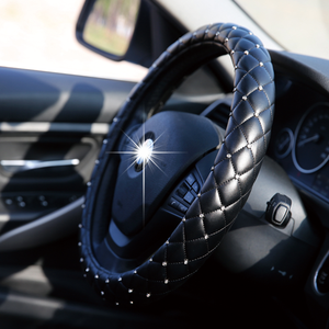Image 2 - Universal 38cm Steering Wheel Cover Bling Rhinestones Crystal Car Handcraft Steering Wheel Covers Soft Leather for Girls ladies