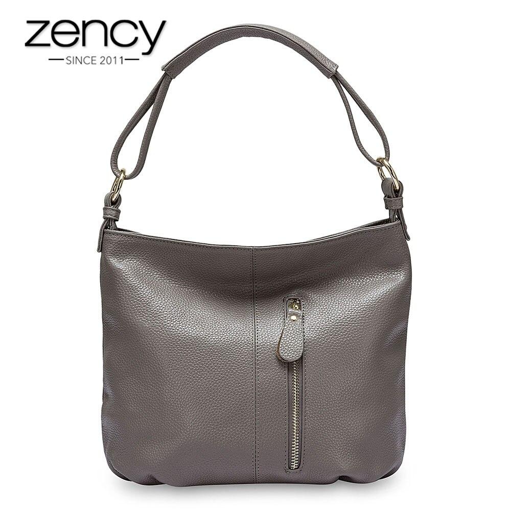 Zency 100% sac à main en cuir véritable Hobos femmes sac à bandoulière mode dame bandoulière Messenger sac à main fourre tout noir gris-in Sacs à poignées supérieures from Baggages et sacs    1