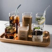 Креативная квадратная стеклянная кружка с золотым буквенным принтом, чашка для завтрака, молока, кофе, Хрустальная прозрачная термостойкая чашка, домашняя посуда для напитков