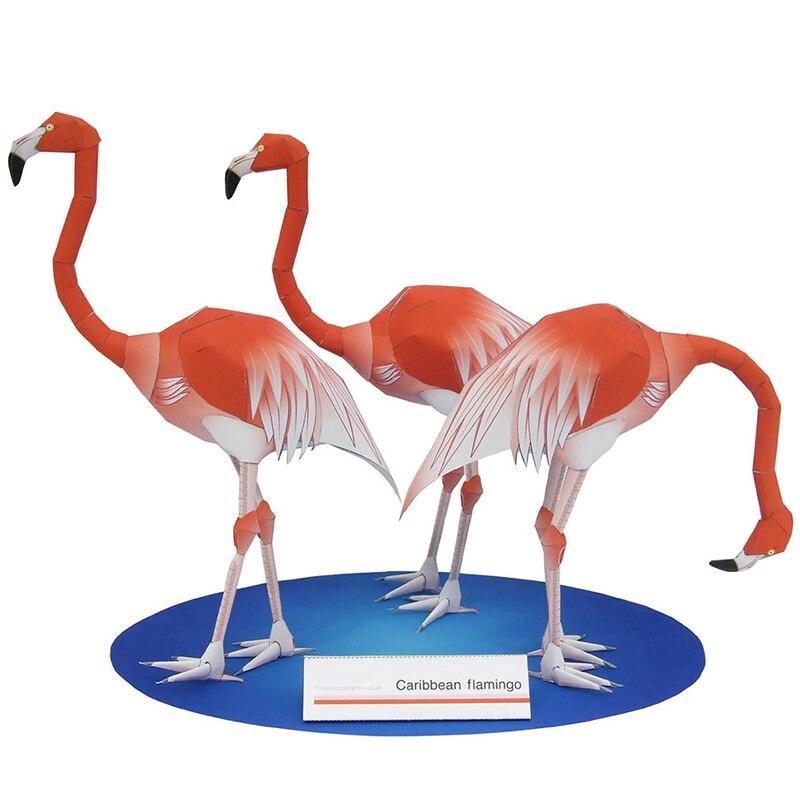Caribbean Flamingo Folding Three Bird Cutting Mini Cute 3D Paper Model Papercraft Animal Figure DIY Kids Adult Craft Toys QD-110
