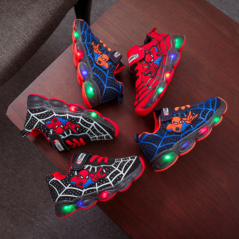 Spring And Autumn Children's Shoes Children's Luminous Shoes Boys And Girls Running Shoes Baby Flash LED Lights Sneakers Mesh