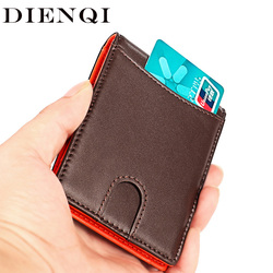 DIENQI Rfid Slim Thin Wallets Men Genuine Leather Zipper Wallet Money Bag Money Clip Mini Smart Magic Wallet With Coin Pocket