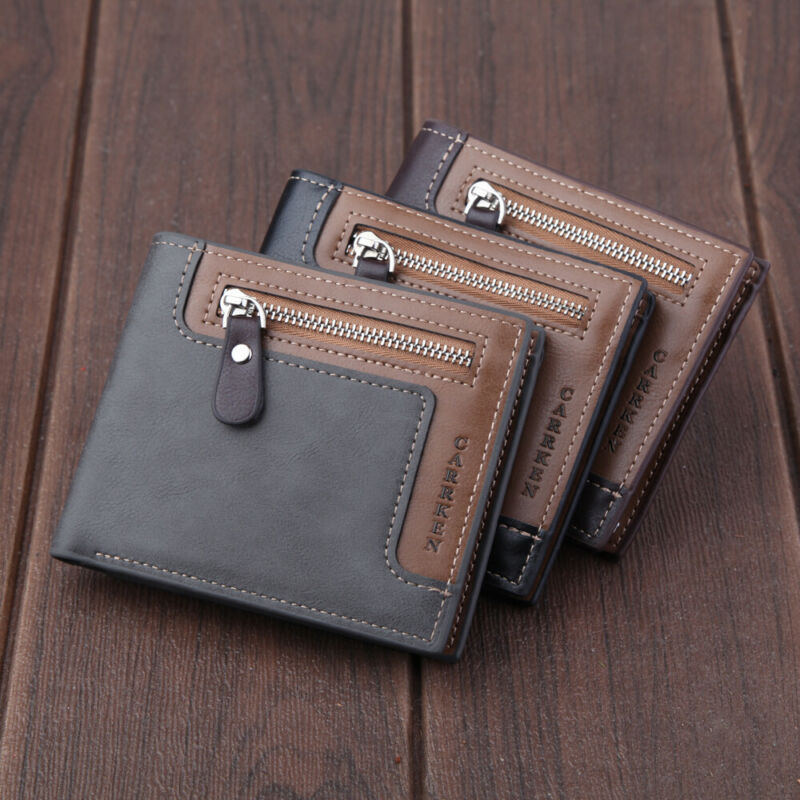 Mens Faux Leather Wallet Bifold Purse ID Credit Card Holder Coin Clutch Pockets