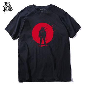 COOLMIND QI0237A 100% cotton summer loose short sleeve o-neck men T shirt casual cool mens tshirt pthd - discount item  30% OFF Tops & Tees