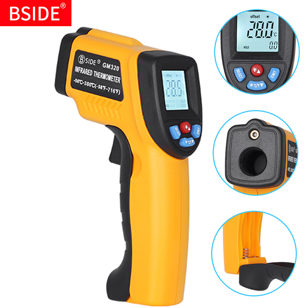 GM320 LCD IR Infrared Thermometer BSIDE Non-Contact Digital Pyrometer Temperature Meter Point -50~380 Degree Termometer