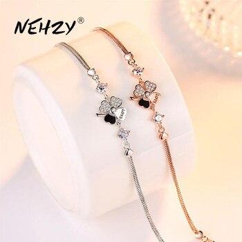 NEHZY 925 pulsera de plata esterlina de joyería de calidad de mujer de moda retro pulsera de cristal con flores longitud 20,5 CM