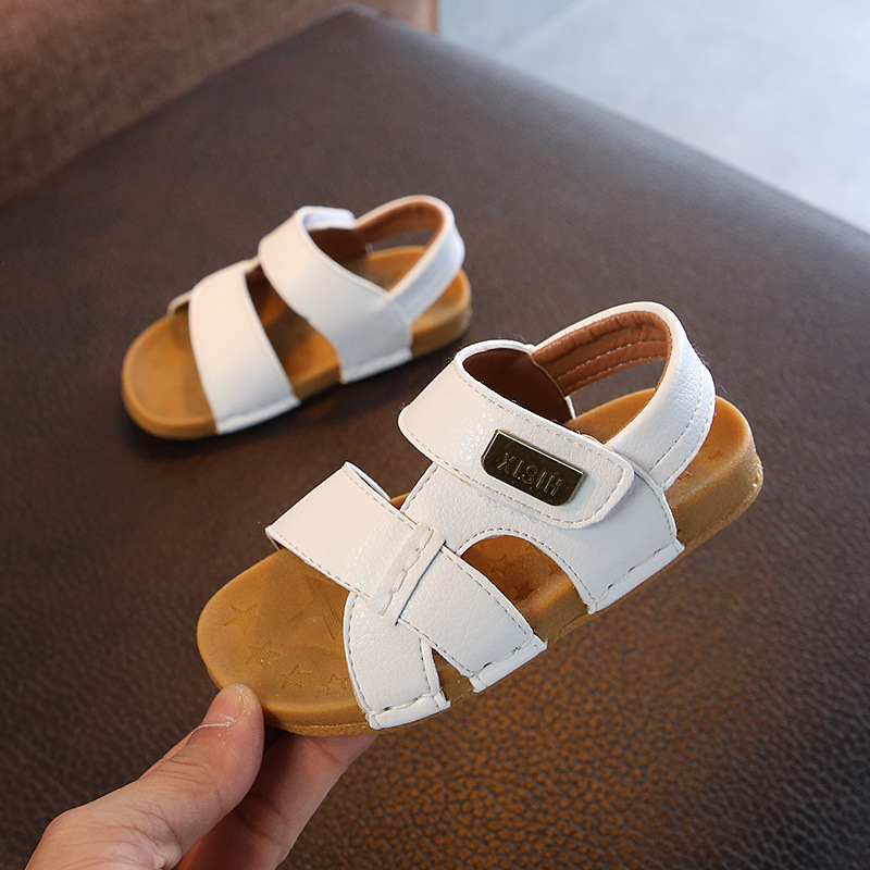 2020 Summer Boys Button Beach Shoes Sandals For Babies Leather Casual Shoes Breathable New Children's Sandals Outwear Footwear