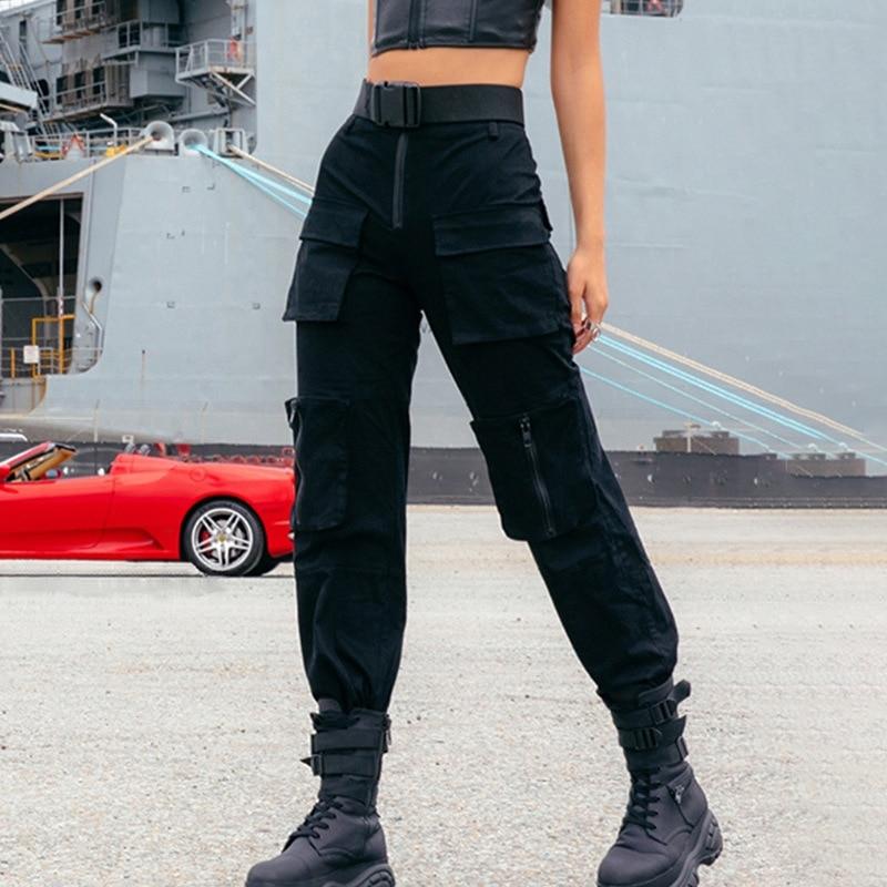 Fashion Streetwear Cargo   Pants   Women Casual Joggers Black High Waist Loose Female Trousers Korean Style Ladies   Pants     Capri