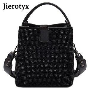 Image 1 - JIEEOTYX Diamanten Frauen Eimer Tasche Berühmte Marke Designer Weibliche Handtaschen Qualität Pu Leder Schulter Taschen Dame Kleine Umhängetasche