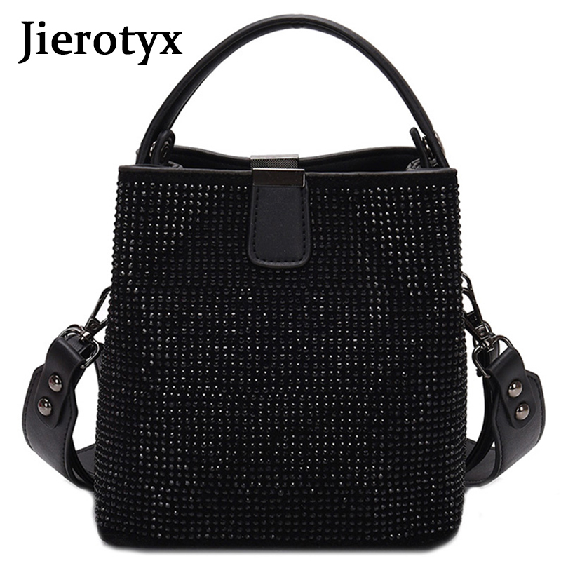 JIEEOTYX Diamonds Women Bucket Bag Famous Brand Designer Female Handbags Quality Pu Leather Shoulder Bags Lady Small Crossbody