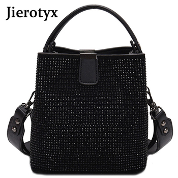 JIEEOTYX Diamonds Women Bucket Bag Famous Brand Designer Female Handbags Quality Pu Leather Shoulder Bags Lady Small Crossbody zmqn women messenger bags famous brand 2018 vintage retro women crossbody bag small pu leather handbags for women splicing a523