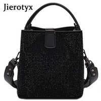 JIEEOTYX Diamonds Women Bucket Bag Famous Brand Designer Female Handbags Quality Pu Leather Shoulder Bags Lady Small Crossbody