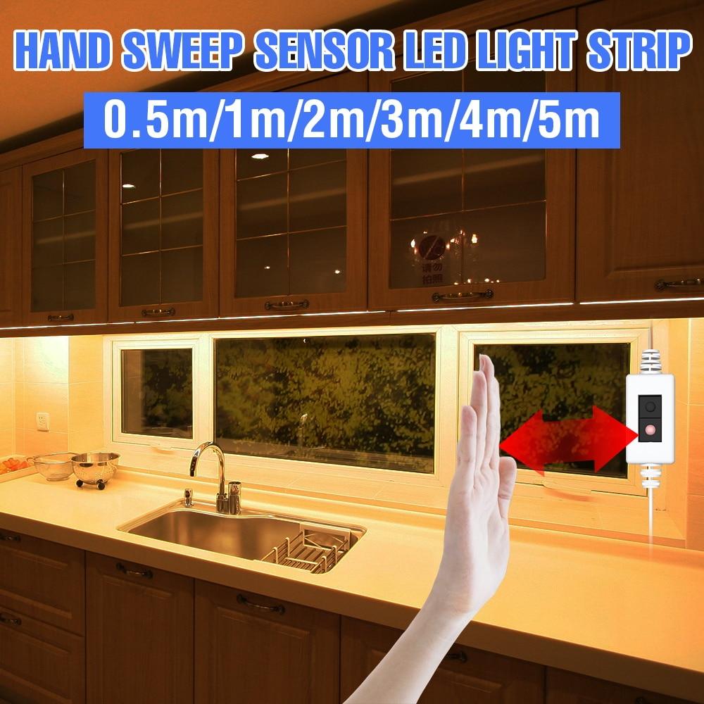 5V LED Sotto Luce del Governo Sweep Mano Nastro Flessibile PIR Sensore di Movimento 20 30 40 50 centimetri di Notte del LED lampada Per La Cucina Armadio Camera Da Letto