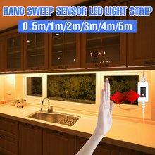 5V LED dolap altı ışığı el süpürme esnek bant PIR hareket sensörü 0.5 1 2 3 4 5m LED gece lamba mutfak yatak odası dolabı
