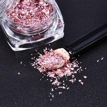 Holográfica Flocos Glitter Prego Prego especial Subiu Lantejoulas de Ouro Decoração de unhas manicure pó