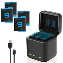 GoPro 9 Battery Charger Smart Fast Charging Case 1750mAh Li-ion Battery Storage Box For