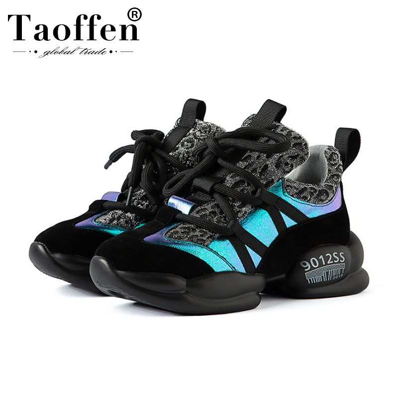 Taoffen Real Leather Leopard Hot Sale Brand Women Sneakers Round Toe Thick Sole Fashion Leisure Shoes Woman Footwear Size 35-40