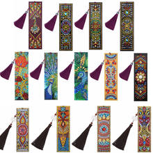 VKTECH DIY Special Shaped Diamond Painting Leather Bookmark Tassel Book Marks Book Page Mark For Kids Students Christmas Gifts(China)