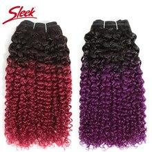 Pelo humano mongol Remy, tejido rizado Afro elegante, doble estiramiento, Color degradado, rosa, azul, púrpura