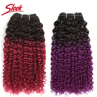 Sleek Afro Kinky Curly Weave Double Drawn Remy Mongolian Human Hair Bunldes Deal Ombre Color Pink Blue Purple cabelo humano