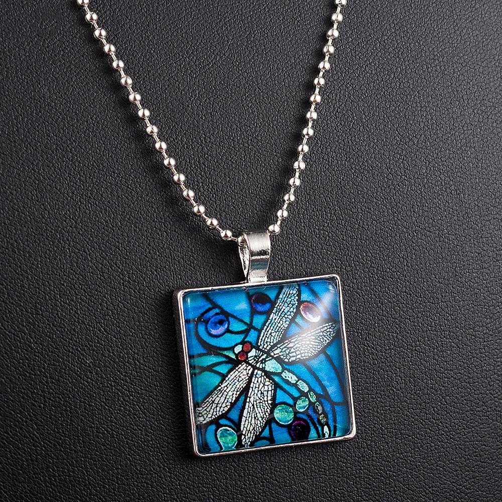 Collar con colgante de libélula azul místico para mujer, insecto, Primavera, jardín, azulejo de cristal, joyería