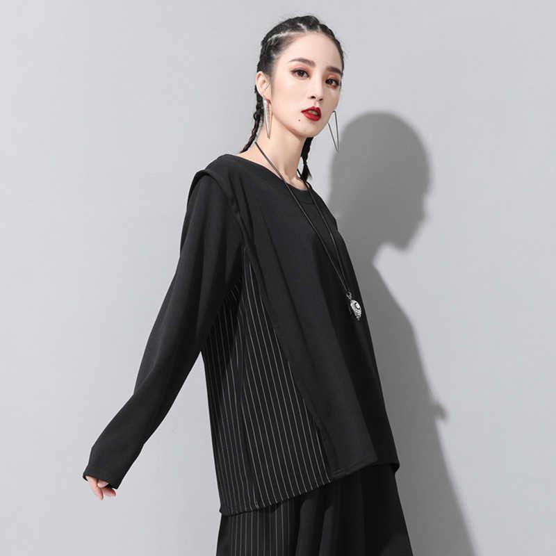 [EAM] 2019 новая осенне-зимняя футболка с круглым вырезом и длинными рукавами в черную полоску, с разрезом, свободная, индивидуальная Женская модная футболка, JQ137