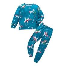 Christmas Baby Clothes Toddler Kid Boy Girl Cartoon Pajamas Sleepwear T shirt Pants Set Boutique W906