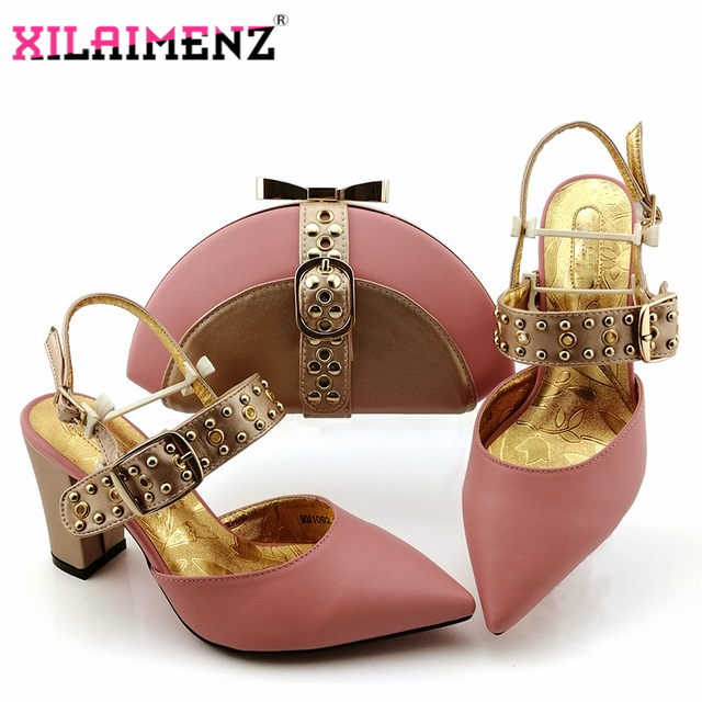 High Quality 2019 Autumn Special Arrivals Pink Matching Shoes and Bag Set In Heels Matching Shoes and Bag Set for Party