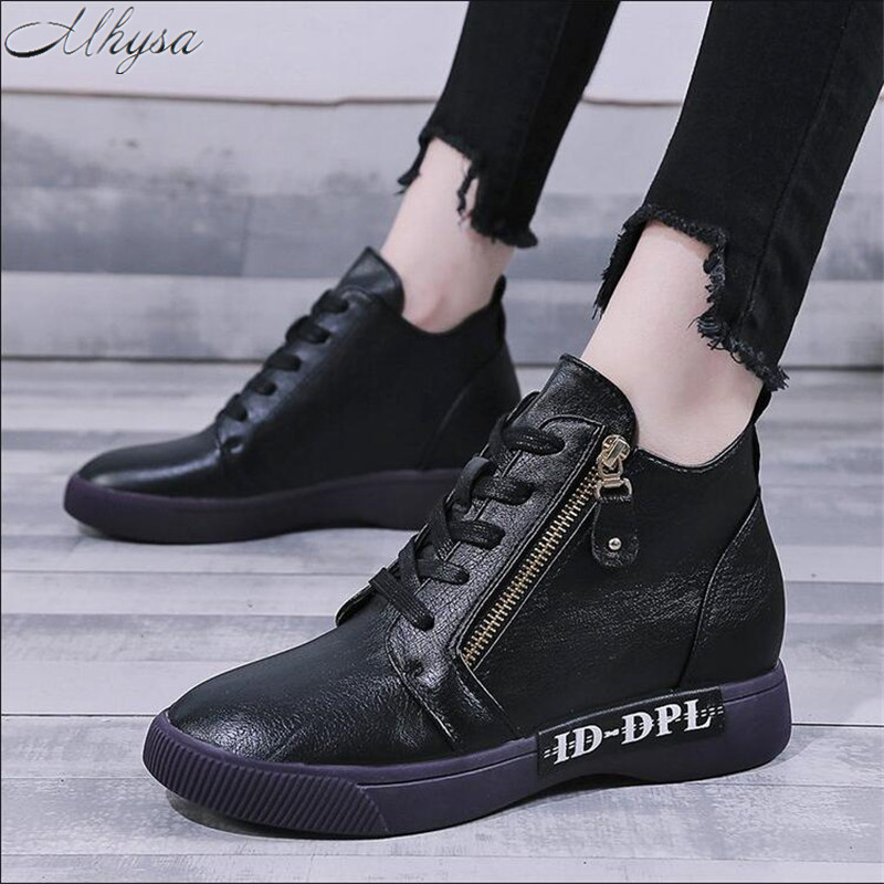 Mhysa 2019 Winter Fashion Women Boots Short Boots Genuine Leather Shoes Women Autumn Thick Heels Ankle Boots  Female Boots L1240