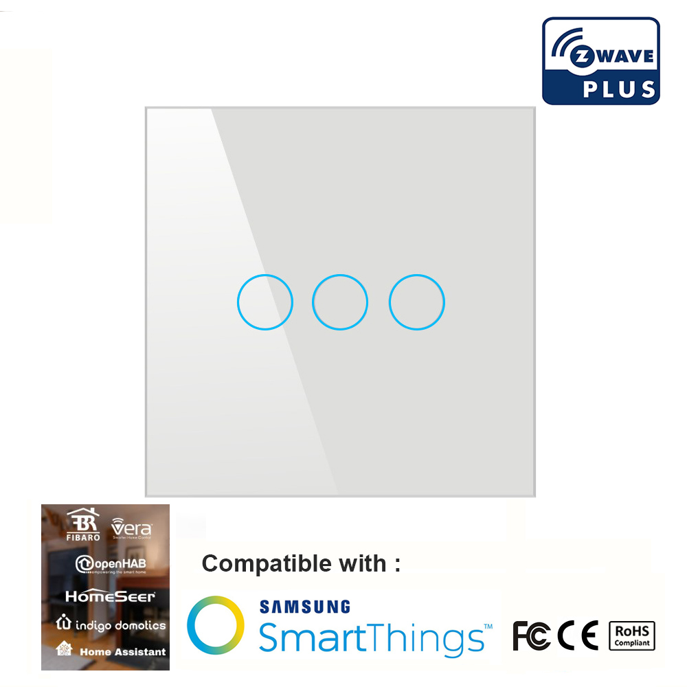 Z wave Plus interrupteur d'éclairage mural domotique commutateur tactile intelligent télécommande interrupteur Compatible série Zwave 300 et 500