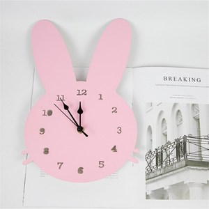 INS Nordic Wooden Rabbit Swan Crown Cloud Wall Clock Kids Room Decorations Wood Mute Clocks Figurines Photo Props Nursery Decor(China)