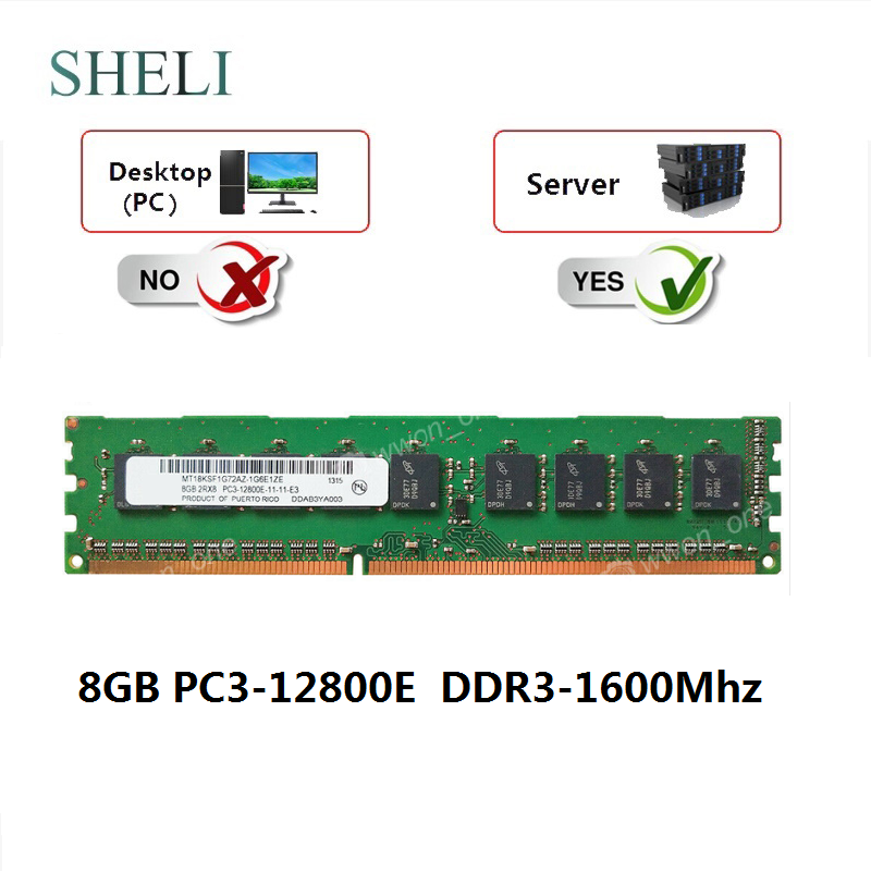 SHELI <font><b>8GB</b></font> PC3-12800E <font><b>DDR3</b></font> 1600MHz 1.5V <font><b>ECC</b></font> CL11 Unbuffered Server Memory image