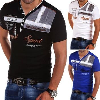 Мужская хлопковая приталенная рубашка ZOGAA, хлопковая рубашка-поло с v-образным вырезом и коротким рукавом