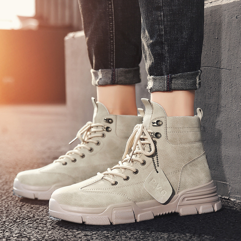 2019 autumn Martin boots men's high men's boots trend retro British wind to help shoes desert tooling tide boots tide shoes
