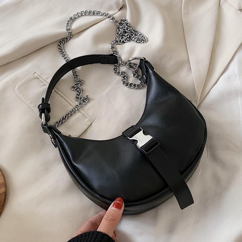 Buckle Design Chain PU Leather Crossbody Bags For Women 2020 Small Shoulder Messenger Handbags Ladies Travel Hand Bag