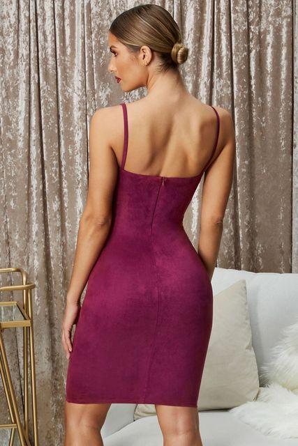 In the summer of 2021 the new sexy back leakage faux suede female sling bags hip women dress 5