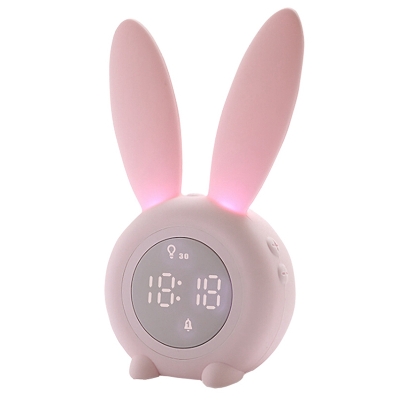 Alarm Clock for Kids Sleep Timer with Digital Thermometer Touch Control and Snoozing Children\'s Sleep Trainer Clock Bunny Kids