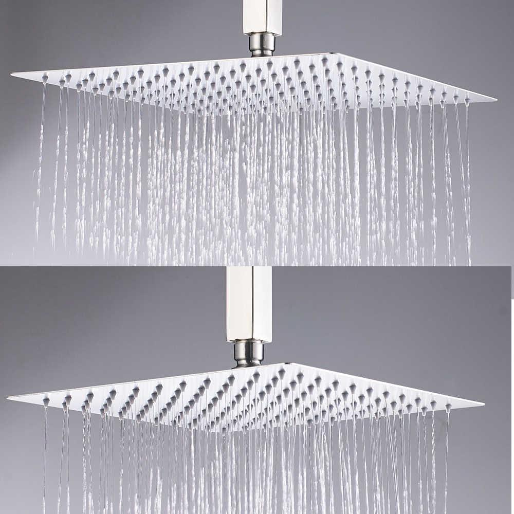 """Cromo polaco 8 """"/10""""/12 """"Cabeza de ducha de lluvia cuadrada baño cabezal de ducha de lluvia ultrafino con accesorios de brazo de grifo de Ducha"""