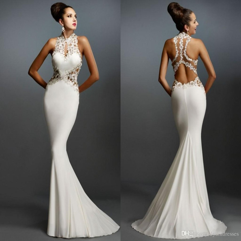 Wedding Sexy Sheer Ivroy Mermaid 2018 High Neck Sheer Back Pivot Wedding Party Guest Evening Gown Mother Of The Bride Dress