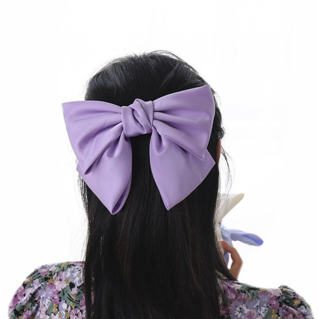 High Quatity Solid Color Big Bow Hairpins For Girl Popular Hair Clip For Women Sweet Two-layer Satin Hairgrip Hair Accessories 5