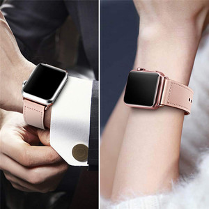 Image 4 - Pembe renk kadın deri saat kayışı kayışı Apple saat bandı saat kayışı 38mm 40mm , VIOTOO için hakiki deri WatchBand iwatch askı