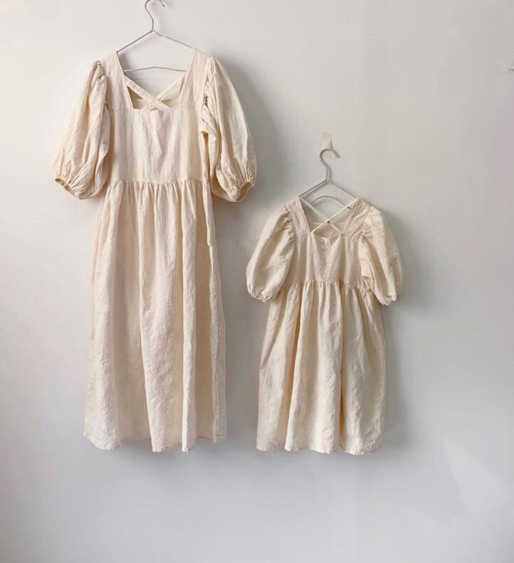Dojhonkids INS Summer Bebes Baby Girls Dress Vintage Brand Design Princess Dress For Kids Girls Puff Sleeve TUTU Dress Beige